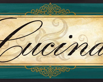 Cucina Italian Kitchen sign in Teal -Two sizes available