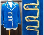 Upcycled Steampunk Clothing, Blue Velvet Jacket Little Mermaid - Prince Eric, Prince Charming, Cinderella, Men's Size ML