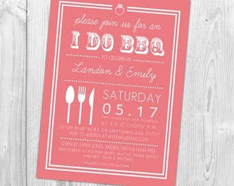 I Do BBQ Invitation, Wedding Shower Invite, Couples Shower