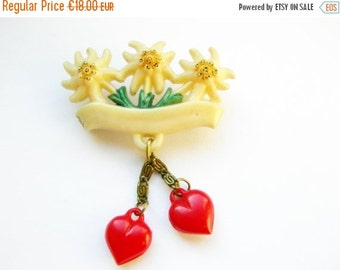 SUMMER SALE - German Vintage Bavarian Hat Pin Brooch Jewelry with Edelweiss and Dangle Hearts - perfect Oktoberfest item