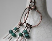 Turquoise Earrings/ Unique Earrings/ FREE Shipping*/ Southwest Earrings/ Antique Copper/ Burnished Copper with Turquoise accent Earrings