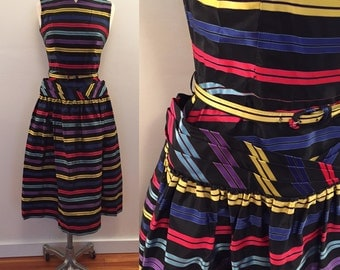 1960s striped rayon acetate dress with waist detail
