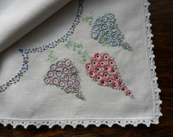"""41"""" X 44"""" Vintage  Linen hand embroidered table cloth with crochet lace edge"""