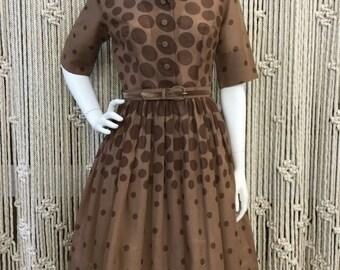 Adorable 1950's brown polka dot Gay Gibson dress