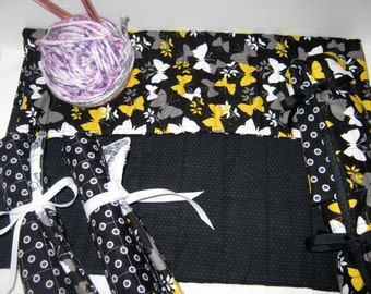 Butterflies on Black Quilted Crochet and Knitting Needles Roll Set,  Straight Circular Double Point Needle Organizer