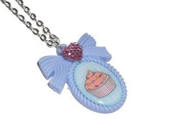 Cupcake Necklace, Kawaii Pastel Blue Sweet Pendant Cute Jewelry