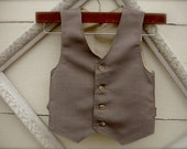 Boys Vest, Taupe vest, brown vest, Vest for Boys, Ring Bearer Outfit, Baptism Suit, Baby Boy Suit, Easter Outfit  (sz 1-10 year old)
