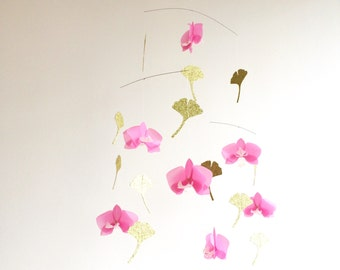 Pink orchids. Gingko leaves. Flower mobile. Paper suspension. Paper flowers. Origami, kirigami. Contemporary home. Original french creation