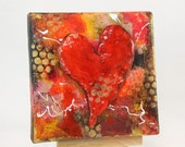 Original Miniature Acrylic and Clay Mixed Media Collage,  Red Heart Abstract,  OOAK canvas