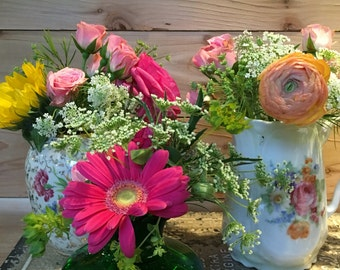 3 vintage shabby chic floral vases for wedding centerpieces