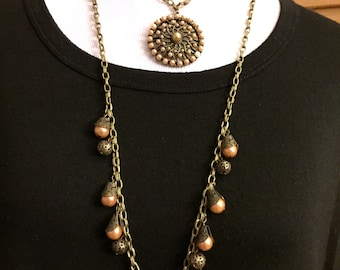 Vintage Two-Layer Necklace - Antiqued Gold with Pearl Pendant and Pearl Charms