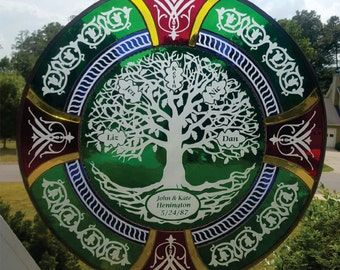 FAMlLY TREE OF LIFE in sandcarved on flashed glass