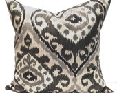 Black Ikat Pillow, 24x24, 22x22 or 20x20 or 18x18 inch, Black Pillow Cover, Decorative Pillow, Throw Pillow, Black, Charcoal Cushion Cover