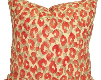 CORAL Pillow Sale, 18x18 inch Coral Pillow, Leopard Print Pillow Cover, Decorative Pillow, Coral Throw Pillow, Pillow, Animal Print Pillow