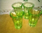 Vintage Set of Four Green Shot Glasses