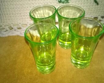 Vintage Set of Four Green Shot Glasses