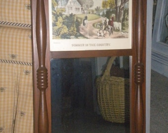 Vintage Currier and Ives Accent Mirror, Eclectic Decor,Wooden Mirror