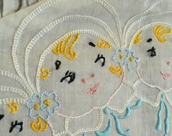 Vintage Embroidered Pillow Cover Baby Gift Baby Pillow 1920s Embroidered Babies Round Embroidered Pillow Cover Nursery Pillow Cover