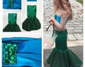 ROSITA- mermaid costume with blue contasting top, walkable mermaid outfit, little mermaid costume, mermaid tail, Mer Sister Ariel Costume