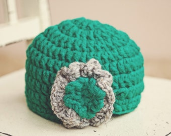 Newborn Hat, Crocheted Newborn Beanie, Teal Baby Beanie, Crochet Flower, Newborn Beanie
