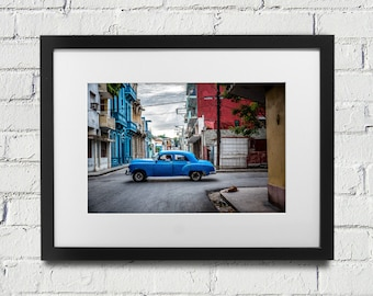 Cuba Photograph of Blue Vintage Car in Havana