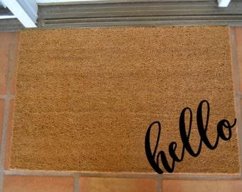 HELLO CORNER COIR Doormat  ... Hand Painted on a Coir Mat