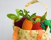 Shopper Bag, Tote for crochet veggies/fruit sets, pretend play, toy bag, storage - FrejaToys