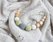 Petite Teething / Babywearing / Breastfeeding Necklace, Baby Teether, Juniper, Neutral Colors, Gray Pistachio - FrejaToys