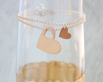 Mother Daughter Bracelet Set - gold hearts - mom bracelet - mother's day gift - mother daughter jewelry - mommy gift - mother bracelet