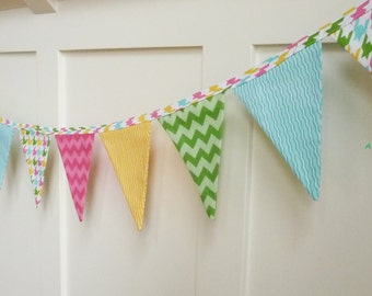Spring Bunting, Reusable Fabric Easter Bunting Banner, Easter Photo Prop, Mantle Decor, Fabric Garland, Spring Decor