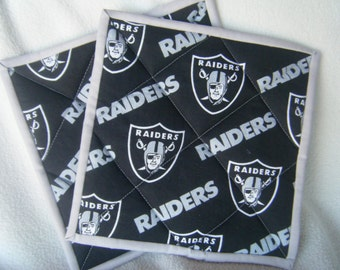 Large Raider's Football Fabric Quilted Potholders - Set of 2 - HANDMADE BY ME