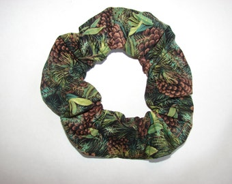 Forest Pine Camo Fabric Hair Scrunchie, woman's scrunchies, pinecones tree, women's accessories, country Christmas, womans gifts, camouflage