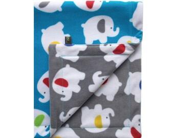 Blue Elephant Fleece Baby Blanket, newborn gift, nursery blanket, pram blanket, soft reversible fleece blanket, new baby gift, gift boxed