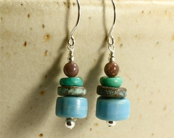 Nepal Glass and Greek Bead Earrings with Turquoise and Jasper, Dangle Earrings, Blue Earrings, Turquoise Earrings