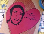 Nicolas Cage Valentine's Day Card- I Love Your Face...Off, Hand Made Cards, Silly Cards, Crazy Love, Pop Art Cards, Valentine's Day