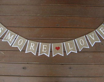 "Rustic Burlap ""SMORE LOVE"" Wedding Banner Shown with White Lettering and White Outline"