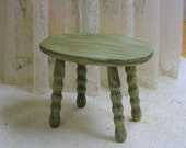 Rustic Footstool Green Painted Prairie Farmhouse Cottage Chic