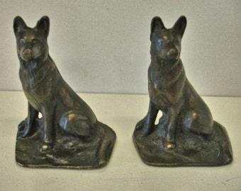 German Shepherd Dogs Vintage Bookends Bronze Type Metal Book Ends Home Decor