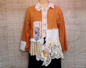 Cotton Jacket Medium Large Boho Gypsy Hippie Upcycled Upscaled Altered Clothing Eco Chic