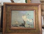 Vintage Nautical Oil Painting Ship Ocean Framed Oil Painting Gilt Frame Clipper Painting