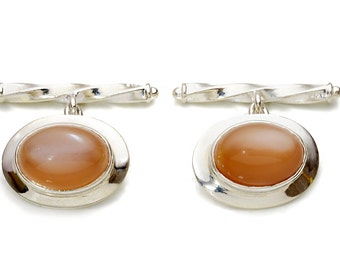 Moonstone Cufflinks Genuine Cabochon Regnas Sterling Silver 925