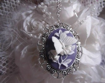 White and Lavender Purple Butterfly Cameo Ladies Silver Filegre art designer Necklace Pendant Mothers Day
