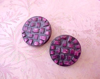 2 Large Celluloid Buttons in Pretty Plum Shade
