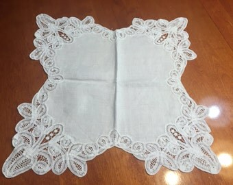 Vintage White Battenburg lace bread cloth Doily for housewares, sewing,  home decor, vases, candles, flowers by MarlenesAttic