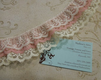 1 yard of 2 inch Ivory and Mauve Pink Triple Ruffled Chantilly Lace trim for bridal, baby, lingerie by MarlenesAttic - Item 9J