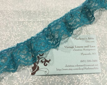 1 yard of 1 1/4 inch Teal Blue Ruffled Chantilly lace trim for bridal, baby, lingerie, garter, home decor by MarlenesAttic - Item 3P