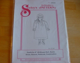 "Vintage 1990s Seeley's Dollmaker's Pattern, No. CP915, Sarah, 8"" Doll, Uncut, Dress, Bonnet, Petticoat"