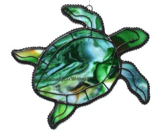 Stained Glass SEA TURTLE Suncatcher -Emerald Greens, with White and Amber - USA Handmade Original Design