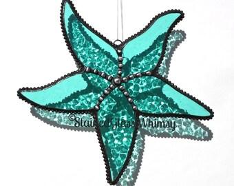 Stained Glass STARFISH Suncatcher - Textured Transparent Aqua, Decorative Soldering, USA Handmade Original Design, Aqua Dragonfly, Dragonfly