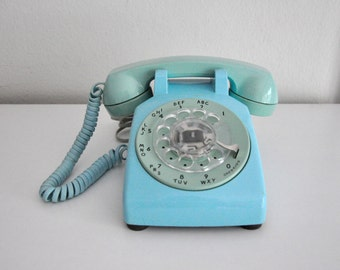 Vintage Blue Rotary Phone Telephone Bell System Western Electric